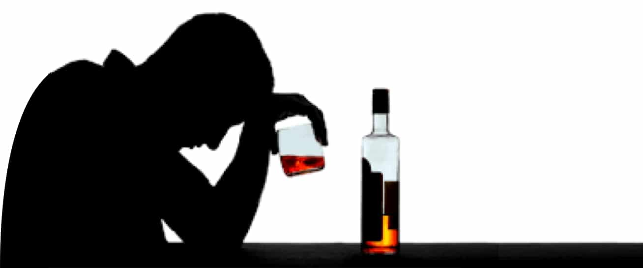 silhouette of sad man with alcohol