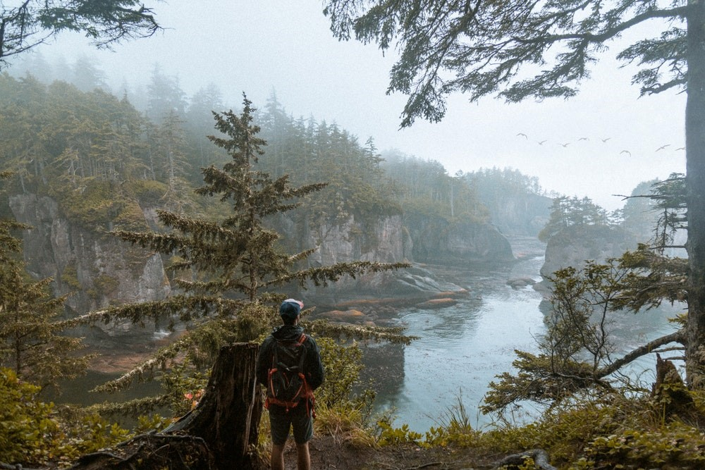 man standing by a lake
